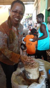 Mubichi shows beans for sale in market